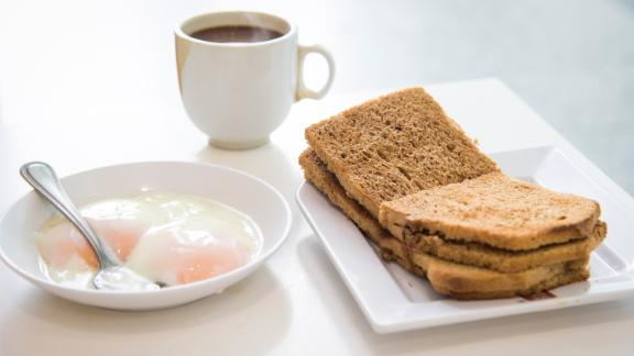 Singapore: Kaya toast is an unassuming-looking toasted sandwich spread with flavorful kaya, a sweet jam made with coconut milk, eggs and sometimes pandan leaf for vibrant green color and flavor.