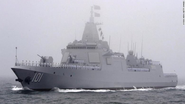 The Chinese navy unveils a new Type 055 destroyer off Qingdao, eastern China, on April 23, 2019, during a fleet review marking the 70th anniversary of the navy's founding.