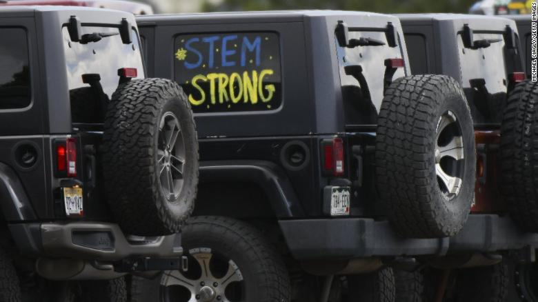 """STEM strong"" is painted on a jeep outside the celebration of life ceremony for Kendrick Castillo at Cherry Hills Community Church on May 15 in Highlands Ranch, Colorado."