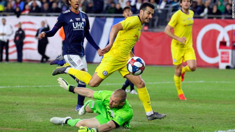 Chelsea's Pedro goes close during the victory over New England Revolution.