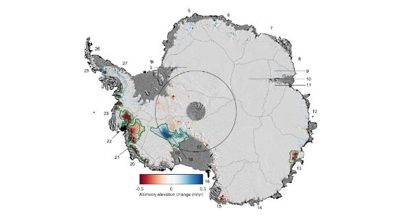 The study looks at changes in ice thickness from 1992-2017.