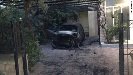 No one was injured in the explosion, which happened early Tuesday, destroying a Greek journalist's car.