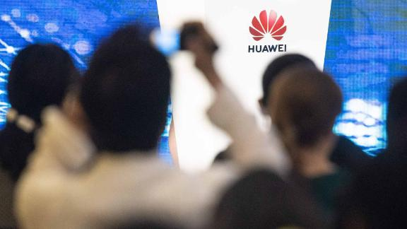 journalists and guests attend the Huawei database and storage product launch during a press conference at the Huawei Beijing Executive Briefing Centre in Beijing on May 15, 2019. (Photo by FRED DUFOUR / AFP)        (Photo credit should read FRED DUFOUR/AFP/Getty Images)