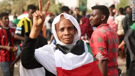 Protesters in the Sudanese capital Khartoum.