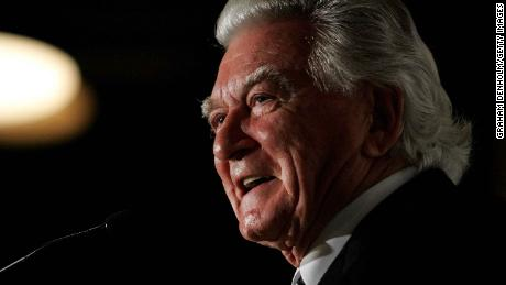Former Australian Prime Minister Bob Hawke makes a speech during the launch of his biography