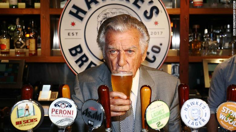 Bob Hawke takes a drink at the launch of Hawke's Lager at Sydney's Clock Hotel in April 2017.
