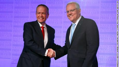 "Prime Minister Scott Morrison and Labor leader Bill Shorten shake hands at the start of ""The Leaders' Debate'' on May 8 in Canberra."