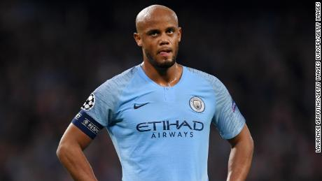 MANCHESTER, ENGLAND - APRIL 17:  Vincent Kompany of Manchester City reacts during the UEFA Champions League Quarter Final second leg match between Manchester City and Tottenham Hotspur at at Etihad Stadium on April 17, 2019 in Manchester, England. (Photo by Laurence Griffiths/Getty Images)