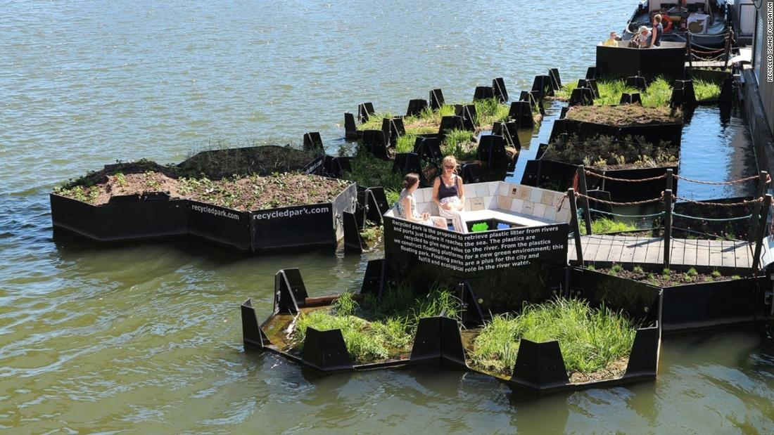 In Rotterdam, a floating green park made entirely from recycled plastic found in the harbor has been developed by the Recycled Island Foundation. The park serves as a green space for people and a home for nature, including fish and birds.