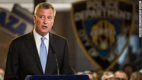 NEW YORK, NY - MAY 07:  New York City Mayor Bill de Blasio speaks at a dedication to fallen police officers at New York Police Department (NYPD) Headquarters on May 7, 2015 in New York City. Eighteen deceased officer's names were added to the NYPD's Memorial Wall.  (Photo by Andrew Burton/Getty Images)