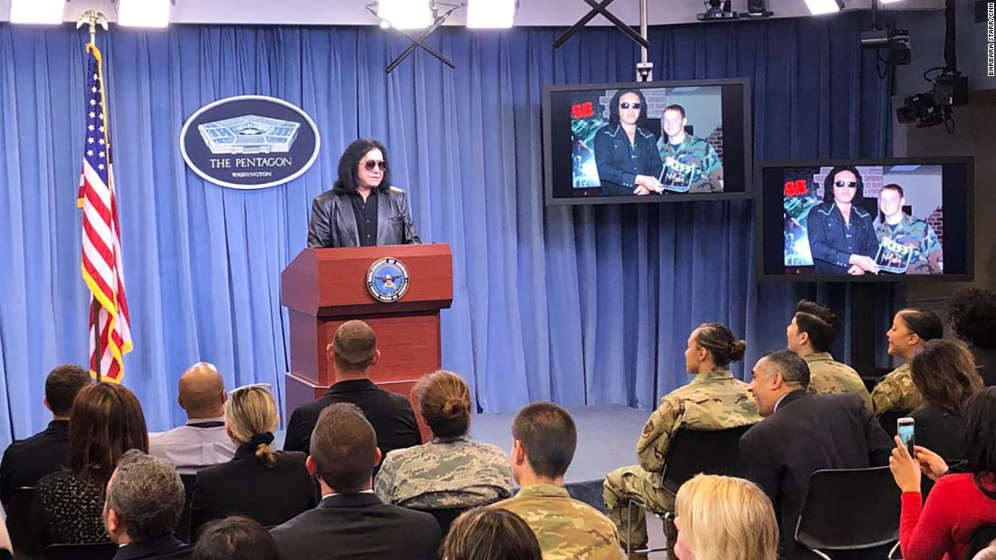 Gene Simmons gives Pentagon briefing