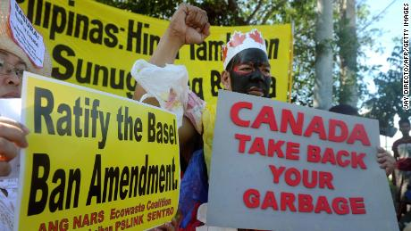 Environmental activists rally outside the Philippine Senate in Manila on September 9, 2015, to demand that scores of containers filled with household rubbish be shipped back to Canada.