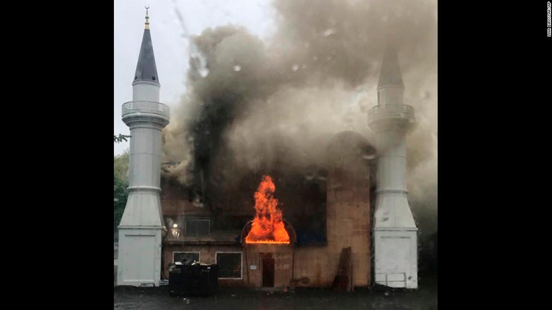 "A fire burns at the Diyanet Mosque in New Haven, Connecticut, on Sunday, May 12. <a href=""https://www.cnn.com/2019/05/14/us/connecticut-mosque-fire-intentionally-set/index.html"" target=""_blank"">The blaze was intentionally set,</a> said the city's supervisor of fire investigations. The mosque was being renovated at the time."