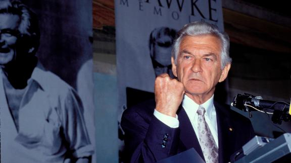 Bob Hawke, former Prime Minister of Australia, at the launch of his memoir in 1994 in Sydney, Australia.