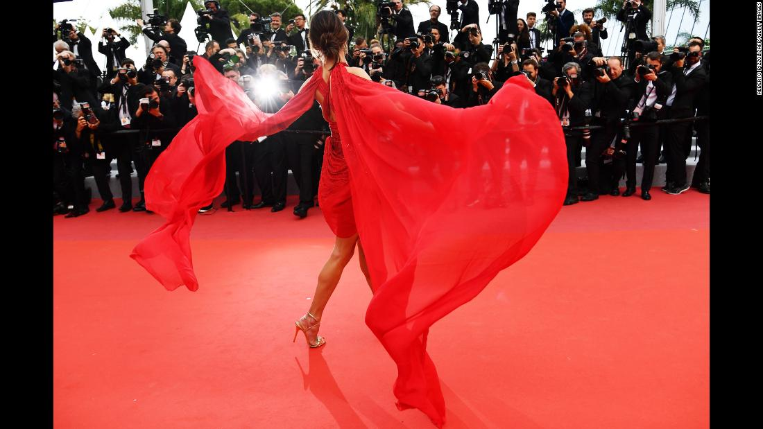 "Model Alessandra Ambrosio arrives for the screening of the film ""Les Miserables"" at the Cannes Film Festival in France on Wednesday, May 15. <a href=""http://www.cnn.com/style/gallery/cannes-2019/index.html"" target=""_blank"">See more red-carpet photos</a>"