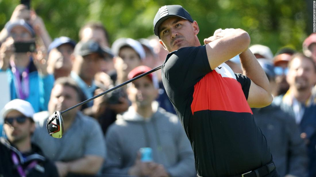 Brooks Koepka with yet another impeccable drive on the 15th tee in a thrilling opening round of 63 -- a course record.