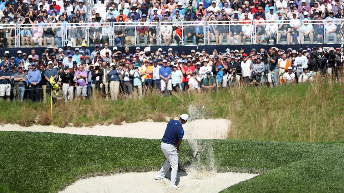 April's Masters victory felt a long time ago for Tiger Woods; the 15-time major winner regularly located both rough and bunker in a first round that lacked the control of last month.