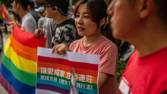 TAIPEI, TAIWAN - MAY 16: LGBT rights protesters demonstrate outside a parliamentary administration building where politicians are continuing to discuss same-sex marriage bills ahead of a vote on Friday, on May 16, 2019 in Taipei, Taiwan. Taiwan