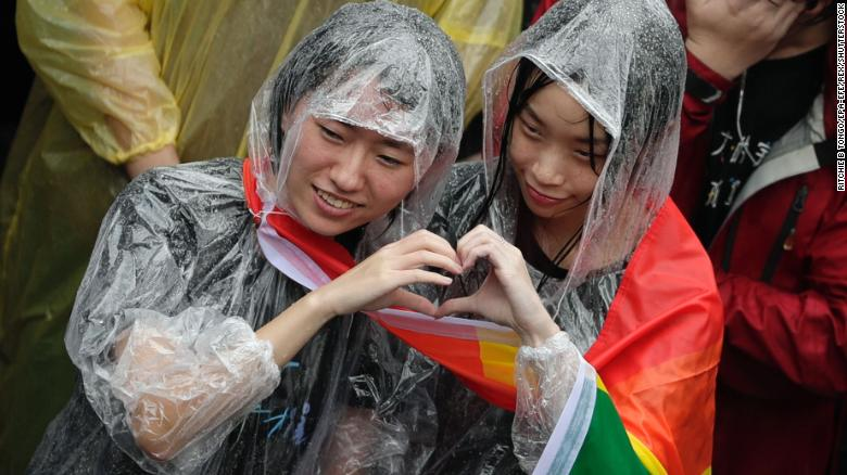 Joy in the rain as the law is changed in Taiwan