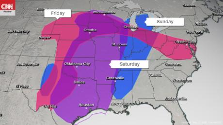 The threat of tornadoes, huge ice and harmful air is possible throughout the central US.