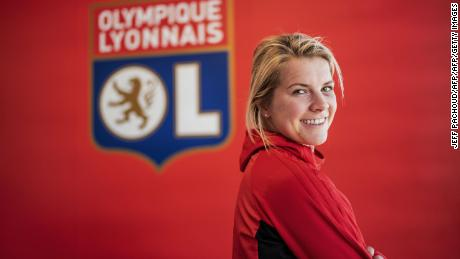 Olympique Lyonnais' Norwegian forward and first woman Ballon d'Or Ada Stolsmo Hegerberg, poses for photographs on February 18, 2019 at the Parc Olylmpique Lyonnais stadium in Decines Charpieu. (Photo by JEFF PACHOUD / AFP)        (Photo credit should read JEFF PACHOUD/AFP/Getty Images)