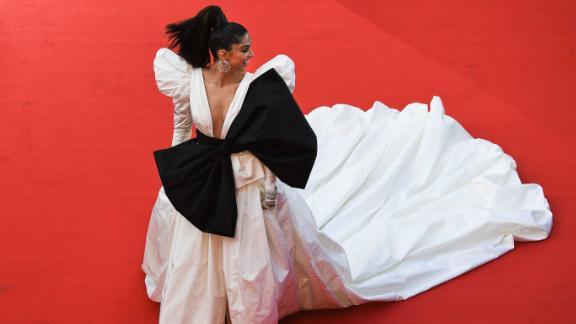Bollywood star Deepika Padukone wears a statement-making custom gown from Dundas.