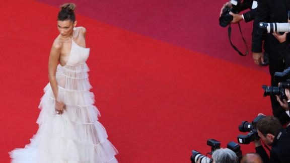 """Bella Hadid dons a sheer tulle number by Dior to the screening of """"Rocketman"""" on the third day of the Cannes Film Festival."""