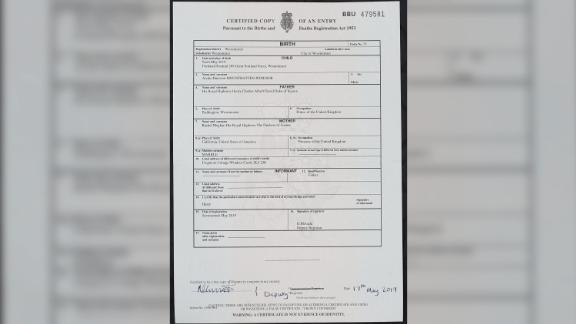 The birth certificate of Archie Harrison Mountbatten-Windsor, son of the Duke and Duchess of Sussex.