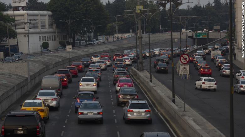 Vehicles sit in traffic in Mexico City, Mexico, on Monday May 13, 2019.