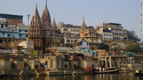 Old temples are seen on the banks of River Ganges on January 29, 2018, in Varanasi, India.