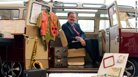 FORT WAYNE, INDIANA - May 8, 2019: President and CEO of Sweetwater Sound Chuck Surack in the 1969 Volkswagen Bus where the company originated at Sweetwater's campus in Fort Wayne, Indiana on May 8, 2019. (Brittany Greeson for CNN)