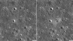 This is where the Israeli spacecraft crashed into the moon