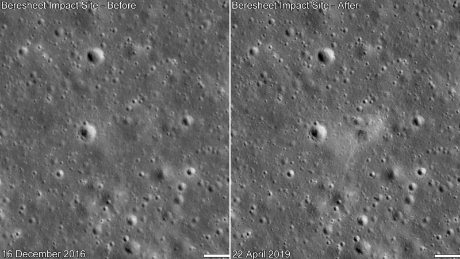 "Before and after comparison of the landing site. Date in lower left indicates when the image was taken. It appears the spacecraft landed from the north on the rim of a small crater, about a few meters wide, leaving a dark ""smudge"" on Mare Serenitatis that's elongated towards the south."