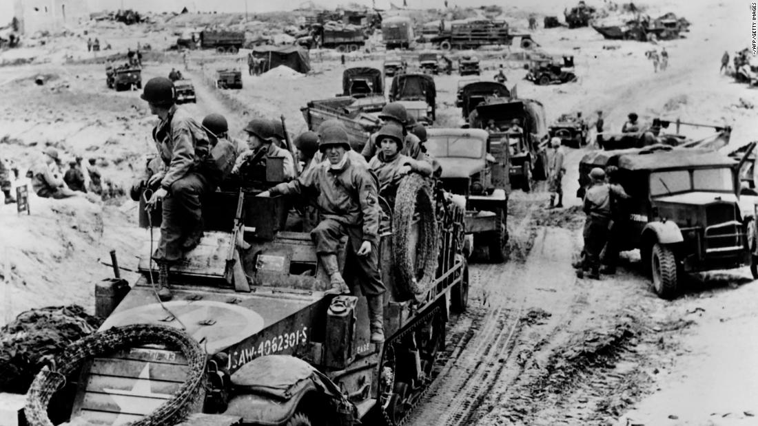 French soldiers arrive after Allied forces stormed the beaches of Normandy.