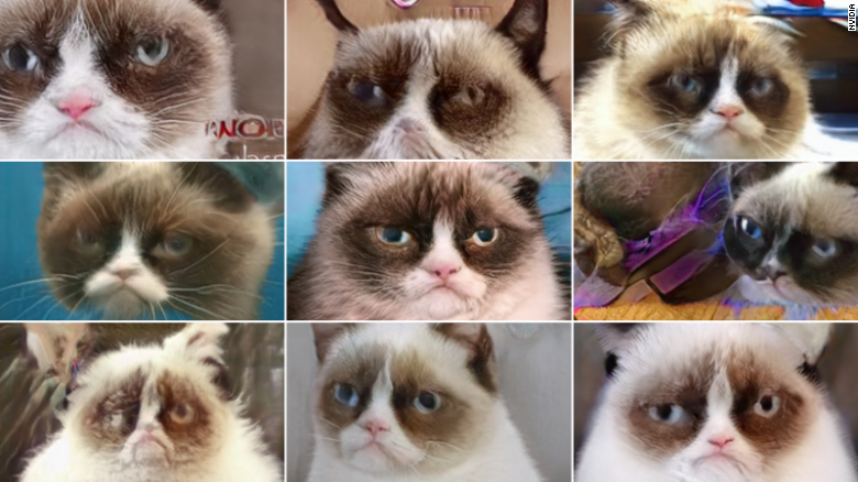 These AI generated images of cats look like Grumpy Cat, but are not real.