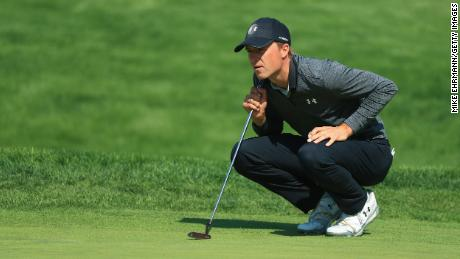 FARMINGDALE, NEW YORK - MAY 17: Jordan Spieth of the United States lines up a putt on the 16th green during the second round of the 2019 PGA Championship at the Bethpage Black course on May 17, 2019 in Farmingdale, New York. (Photo by Mike Ehrmann/Getty Images)