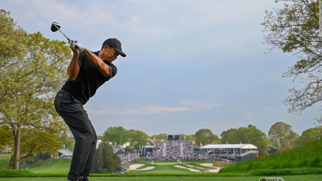 Tiger Woods tees off on the 18th hole. Woods failed to make the cut for the final two rounds after shooting a three-over 73, ending the tournament at five over.