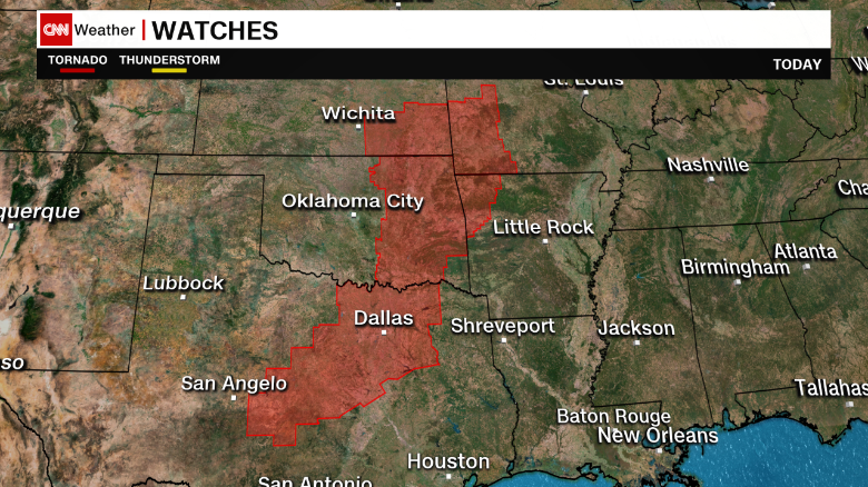 Areas in red are under tornado watches midday Saturday, meaning conditions are right for twisters to form.