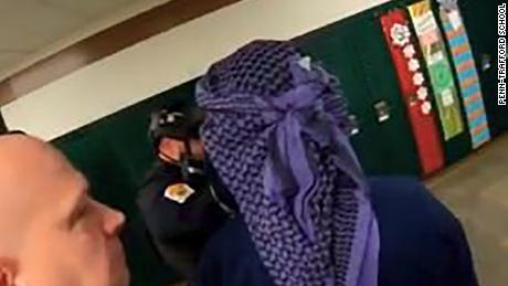 A Pennsylvania school district is defending itself against criticism that it depicted a gunman in Arab headdress at an active-shooter drill.