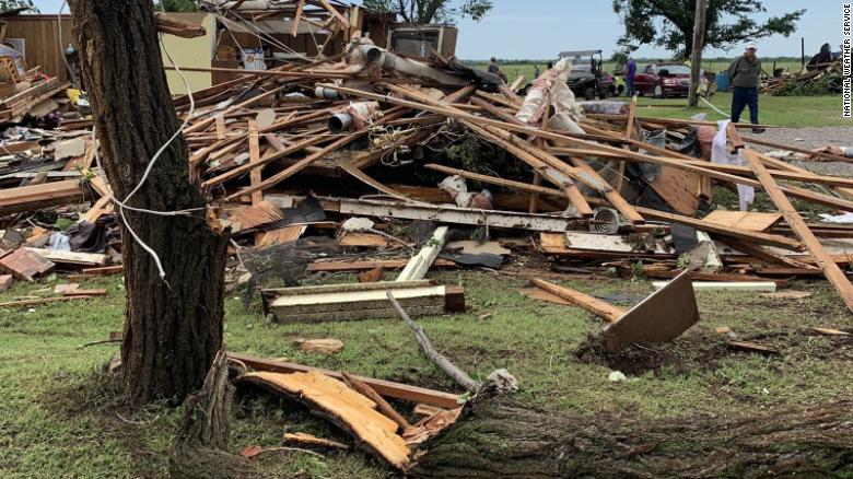 Damage from a confirmed tornado Saturday that struck east of Geronimo, Oklahoma.