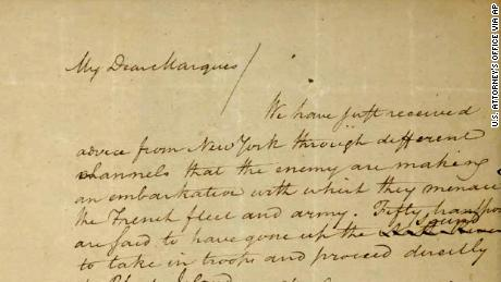 A 1780 letter from Alexander Hamilton to the Marquis de Lafayette was stolen from the Massachusetts Archives decades ago. The complaint asks a judge to order the letter returned to the state. It resurfaced in November 2018 when a Virginia auction house received it from a South Carolina family that wanted to sell it.