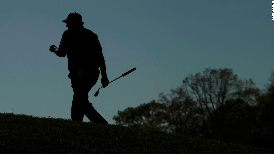 Phil Mickelson walks up to the 18th green during the third round.