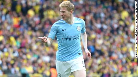 LONDON, ENGLAND - MAY 18: Kevin De Bruyne of Manchester City celebrates after scoring his team's third goal during the FA Cup Final match between Manchester City and Watford at Wembley Stadium on May 18, 2019 in London, England. (Photo by Alex Morton/Getty Images)