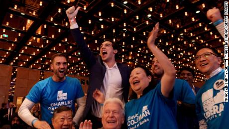 SYDNEY, AUSTRALIA - MAY 18: Liberal party supporters celebrate seats won as they wait for the Prime Minister Scott Morrison to arrive at the Coalition's official Election Night function the Sofitel Sydney Wentworth, on May 18, 2019 in Sydney, Australia. Australians headed to the polls today to elect the 46th Parliament of Australia, with a tight battle between incumbent Prime Minister Scott Morrison of the Coalition party and Labor Leader, Bill Shorten. The Coalition party has led government since 2013. (Photo by Tracey Nearmy/Getty Images)