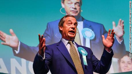Nigel Farage attends a rally with the Brexit Party's European election candidates in Edinburgh, Scotland, on May 17, 2019.