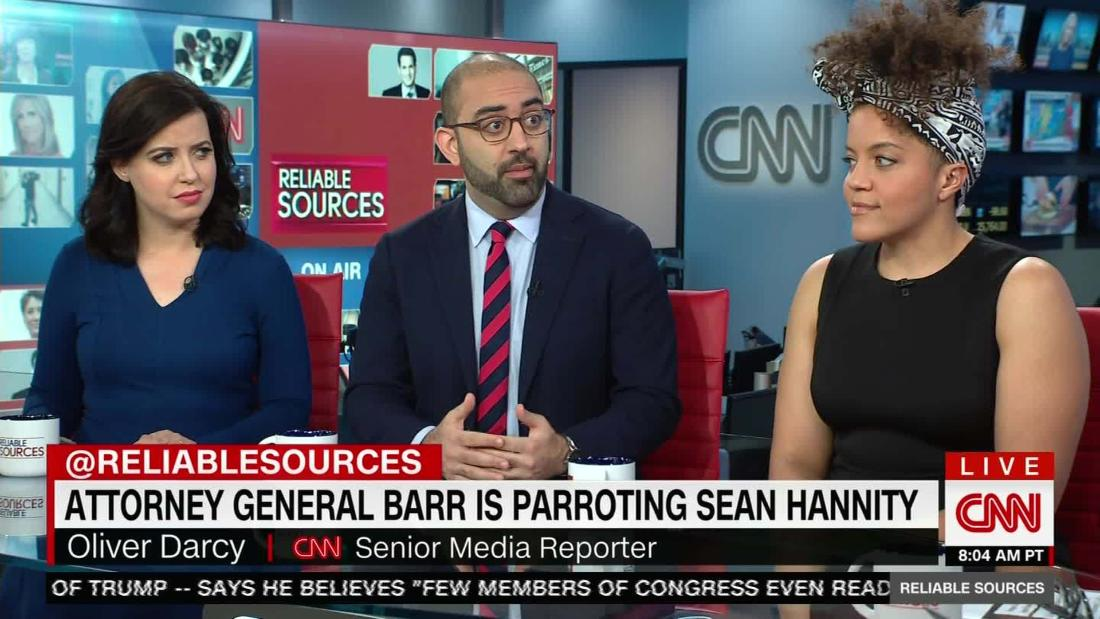 Attorney general William Barr parroting Sean Hannity