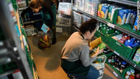 LONDON, ENGLAND - MAY 05:  Volunteers at Wandsworth foodbank prepare food parcels for guests from their stores of donated food, toiletries and other items on May 5, 2017 in London, England.  The Trussell Trust, who run the food bank, report that dependency on their service is continuing to rise, with over 1,182,000 three day emergency food supplies given to people in crisis in the past year. 436,000 of these recipients were children.  (Photo by Leon Neal/Getty Images)