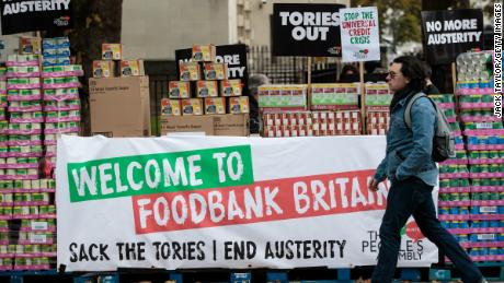 A protester stages a food bank demonstration in central London in 2017 in London.