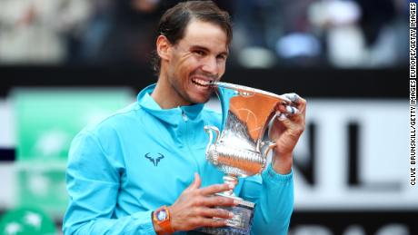 ROME, ITALY - MAY 19: Rafael Nadal of Spain with his winners trophy after his three set victory against Novak Djokovic of Serbia in the men's final during day eight of the International BNL d'Italia at Foro Italico on May 19, 2019 in Rome, Italy. (Photo by Clive Brunskill/Getty Images)