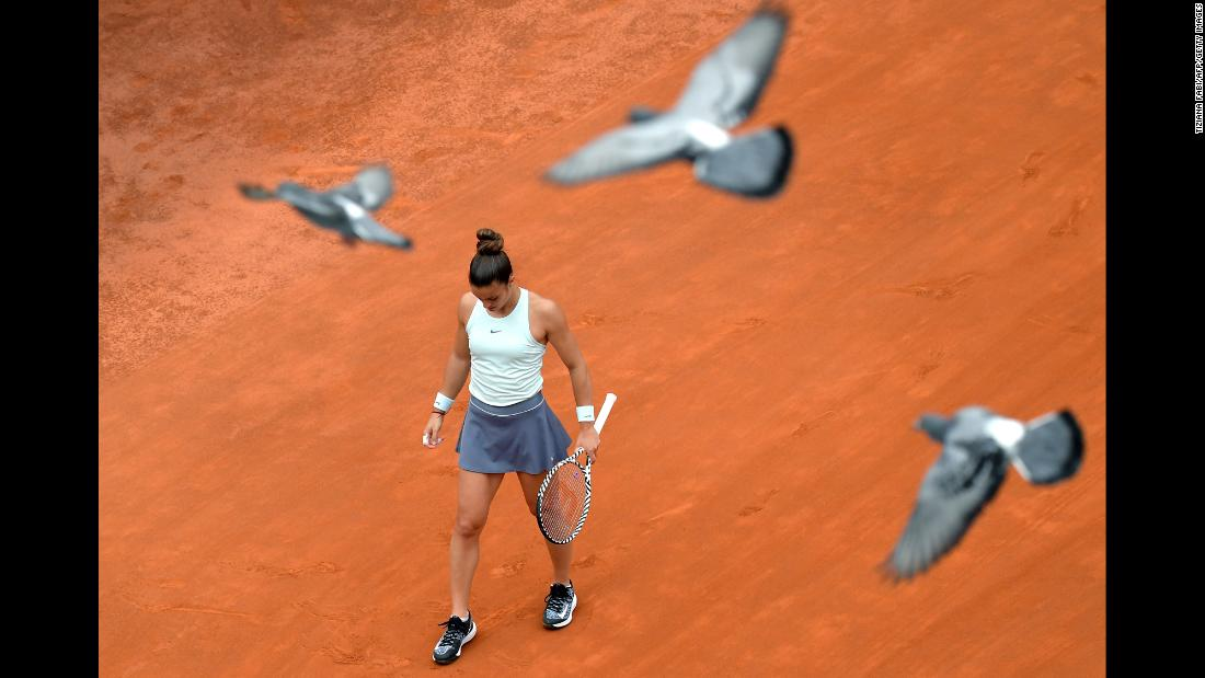 Pigeons fly over Maria Sakkari during her semi final match against Karolina Pliskova at the WTA Masters tournament in Rome on Saturday, May 18.